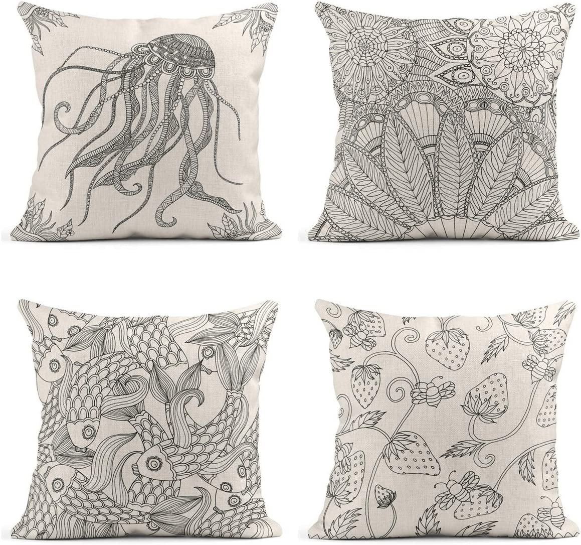 Tarolo Set of 4 Linen Throw Pillow Cover Case Octopus Whale Creatures from The Deep Coastal Modern Contemporary Paper Cut Decorative Pillow Cases Covers Home Decor Square 18 x 18 Inches Pillowcases