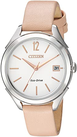 7c4761ec67c380 Citizen Women's 'Drive' Quartz Stainless Steel and Leather Casual Watch,  Color:Beige