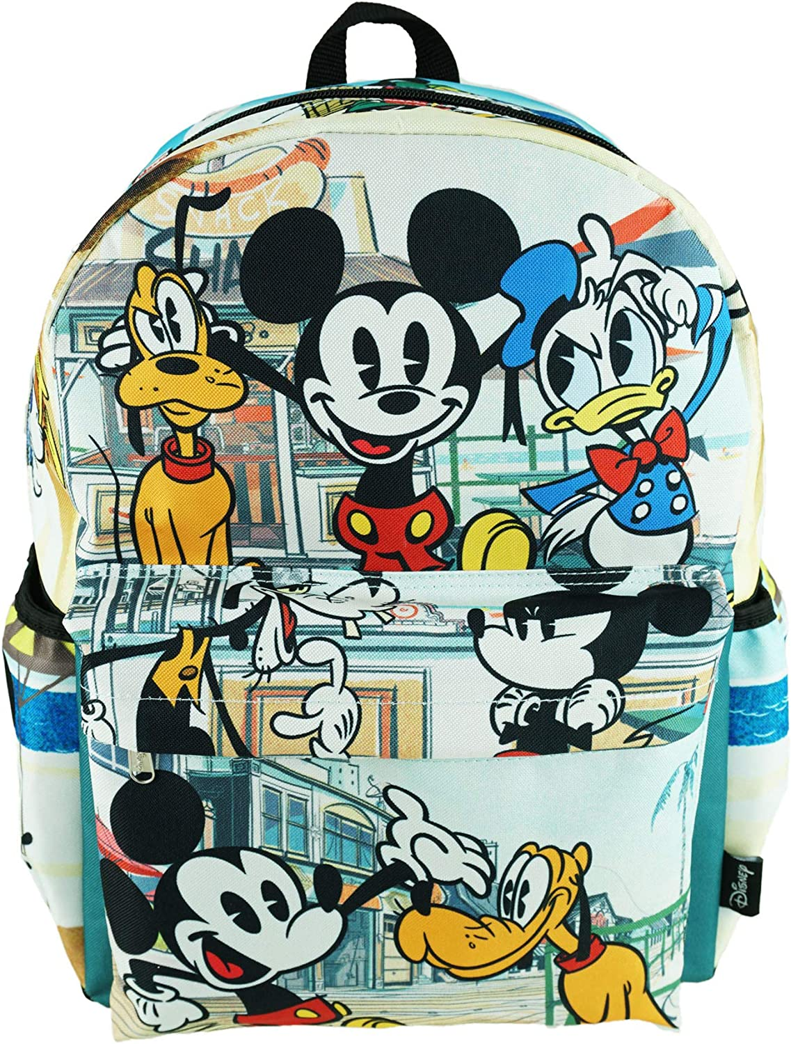 """Mickey Mouse Deluxe Oversize Print Large 16"""" Backpack with Laptop Compartment - A19757"""