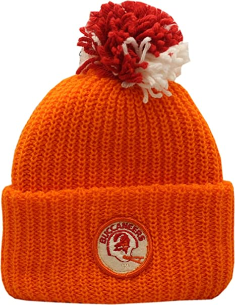 37292bcb2 discount code for vintage tampa bay buccaneers knit hat cuffed pom orange  patch logo bce57 f379c