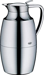alfi Pallas Glass Vacuum Chrome Plated Brass Thermal Carafe for Hot and Cold Beverages, 1.0 L, Chrome