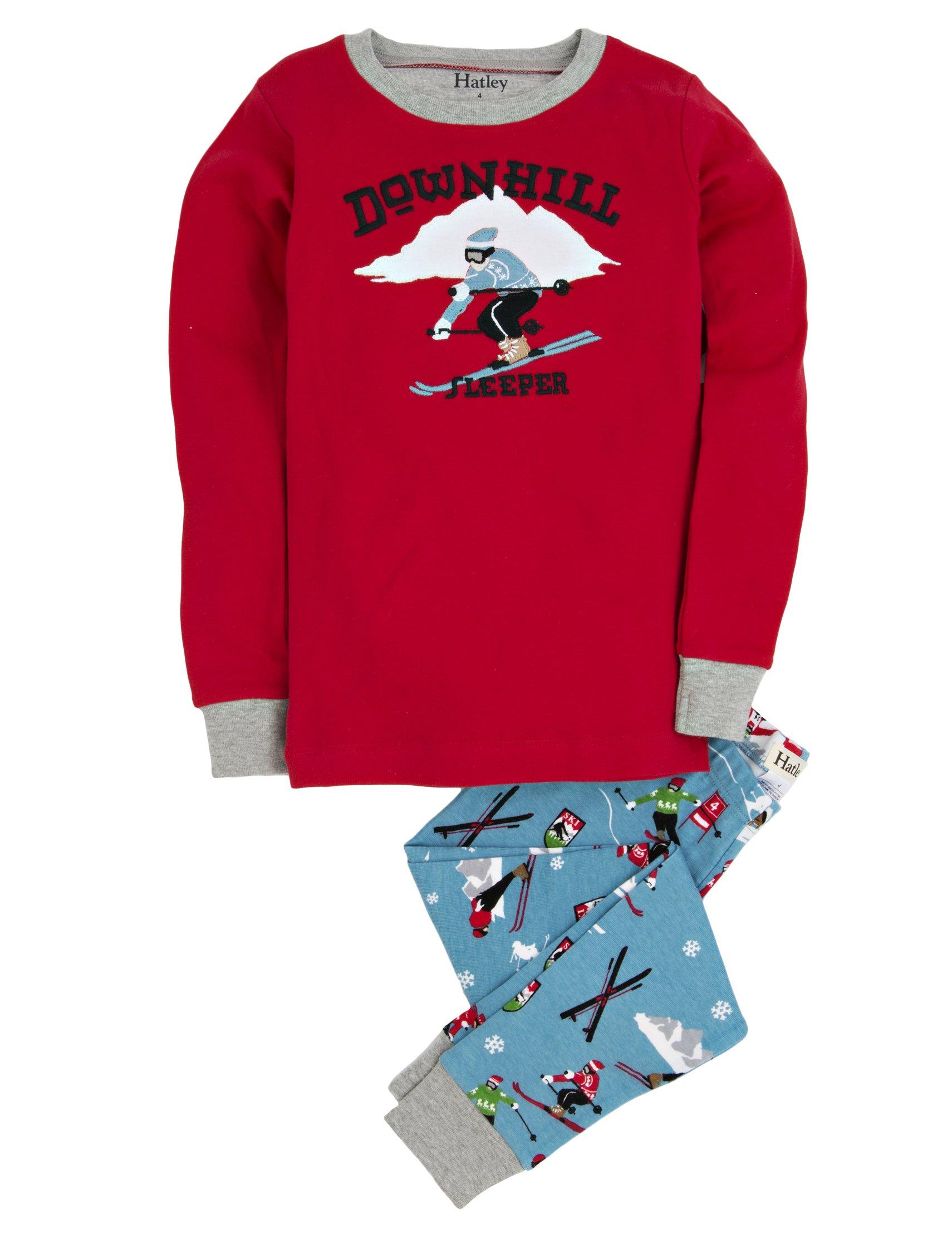 Hatley Little Boys' Pajama Set Applique Retro Ski, Blue, 4 by Hatley