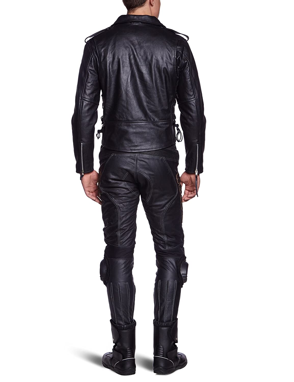 Giacca Chopper Schwarz LJ-CO Giacca in pelle Protectwear Motorcycle taglia  52 // L