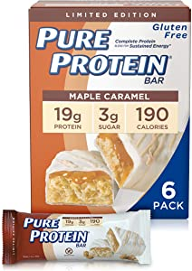 Pure Protein Bars, High Protein, Nutritious Snacks to Support Energy, Low Sugar, Gluten Free, Mapel Caramel, 1.76oz, Pack of 6 (packaging may vary)