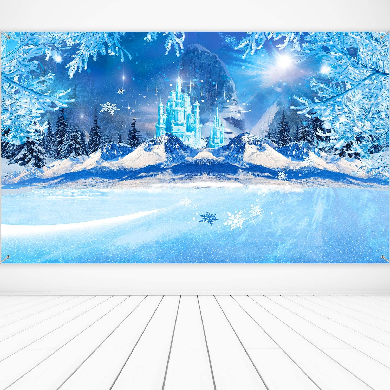 Christmas Winter Party Decoration Supplies, Large Fabric Winter Wonderland Backdrop for Winter Frozen Themed Party Decor, White World Winter Backdrop Ice Snow Photography Backdrops Background Banner