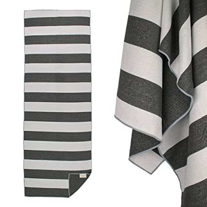 Yogabum Coastal Collection Grip Dot Yoga Towel (Black Stripe ...