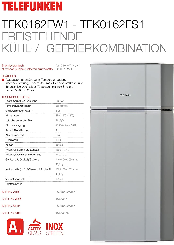 Telefunken TFK0162FW1 Kühl-Gefrier-Kombination / A+ / 144