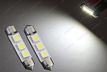 urmodbase CanBus luces LED SMD C5W 239 Festoon 38 mm 39 mm matrícula matrícula matrícula luces interior cúpula lectura bombillas 12 V: Amazon.es: Coche y ...