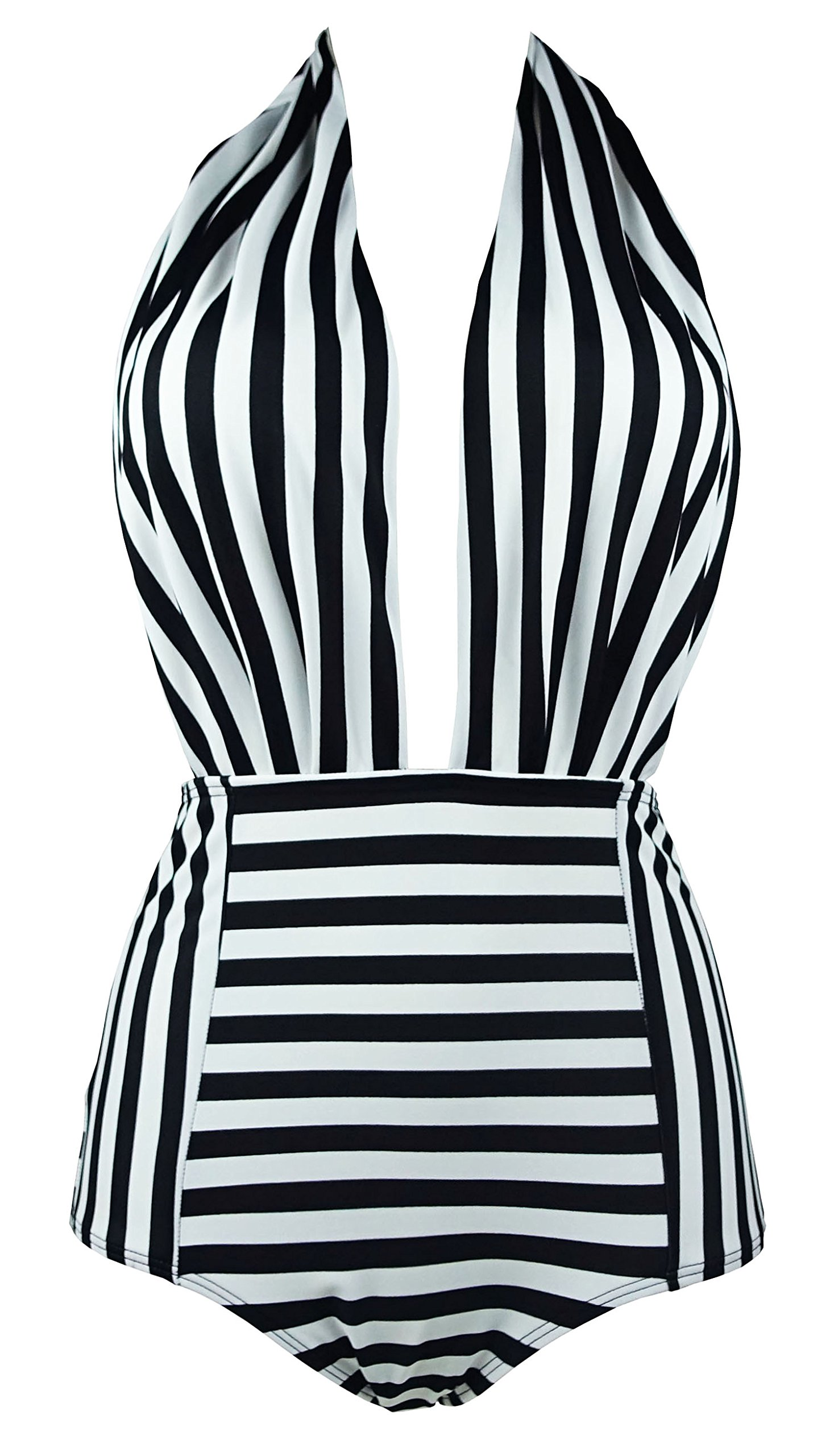 COCOSHIP Black & White Striped Retro One Piece Backless Bather Swimsuit High Waisted Pin Up Swimwear Monokini M(FBA) by COCOSHIP