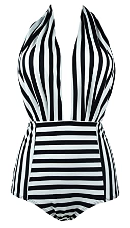 53bd33ba7e COCOSHIP Black   White Striped Retro One Piece Backless Bather Swimsuit  High Waisted Pin Up Swimwear