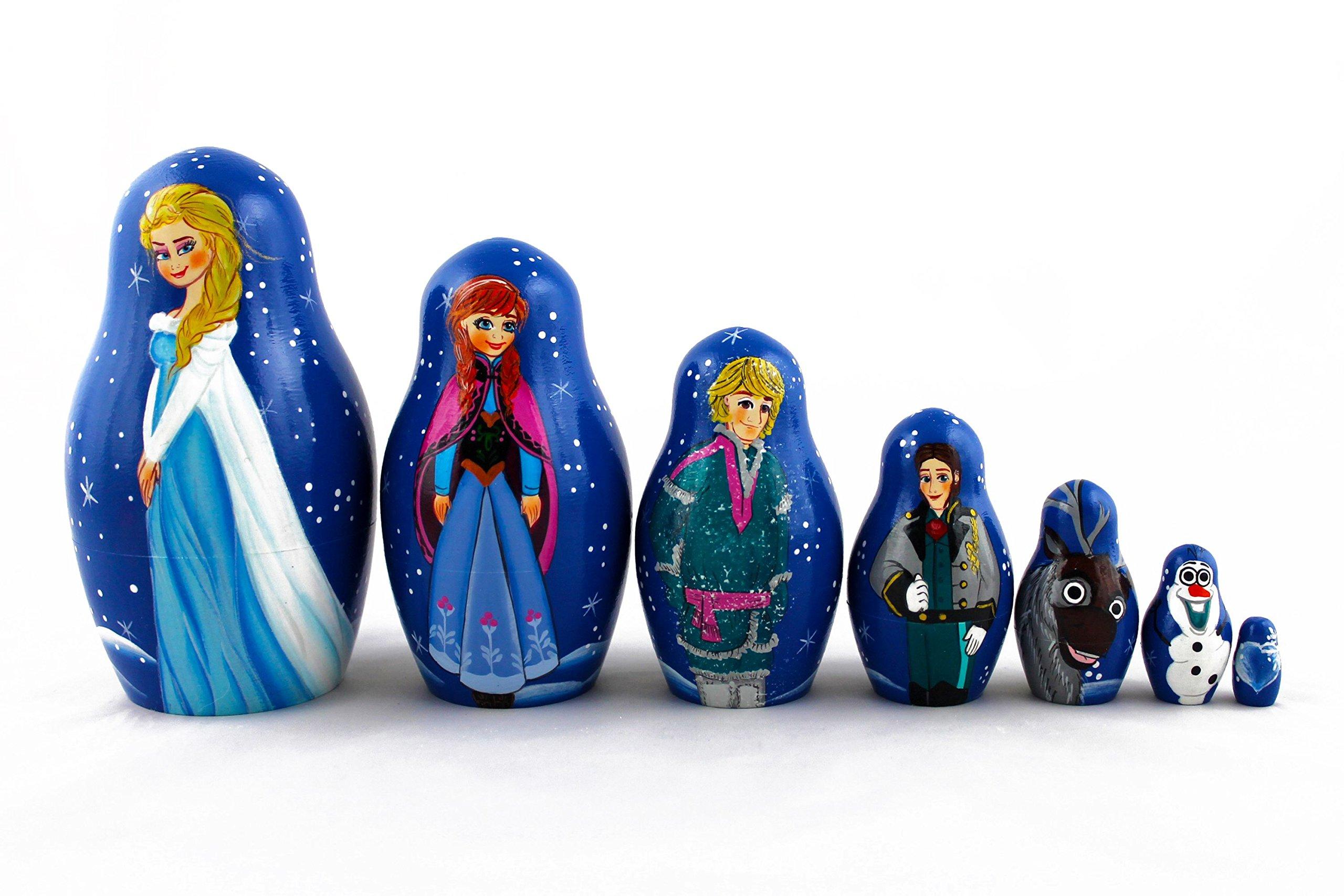Matryoshka Russian Nesting Doll Babushka Beautiful Cartoon Characters Frozen Elsa Set 7 Pieces Pcs Wooden Hand Painted Souvenir Craft Gift by MATRYOSHKA&HANDICRAFT by MATRYOSHKA&HANDICRAFT
