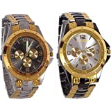 Blue Diamond Analogue Multicolor Dial Black With Rosara Men's Watch (Combo Of 2) 213-214
