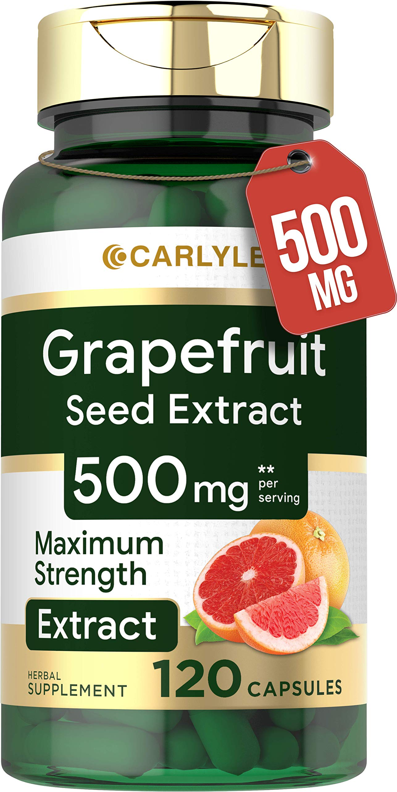 Grapefruit Seed Extract | 500 mg 120 Capsules | Maximum Strength | Non-GMO, Gluten Free | Carlyle