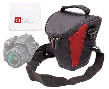 DURAGADGET Funda Negra y Roja con Bandolera para Nikon D3300 con ...