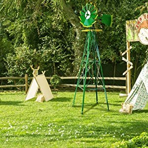 Stark Industrial 8' feet Windmill Yard Garden Weather Resistant Wind Mill Home Decoration Backyard, Green