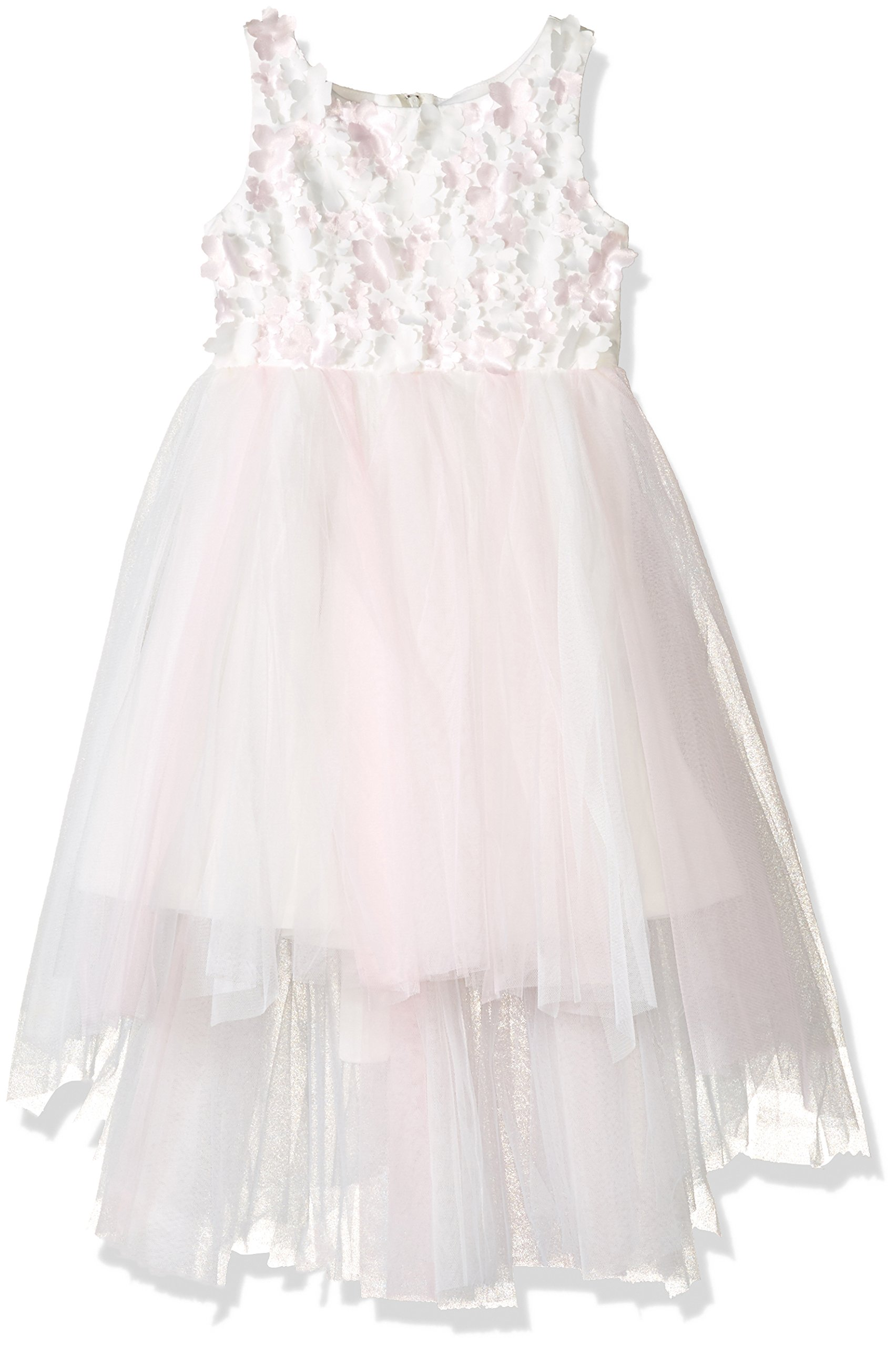 Biscotti Little Girls Flower Frolic Hi Low Dress, Ivory/Pink, 6X
