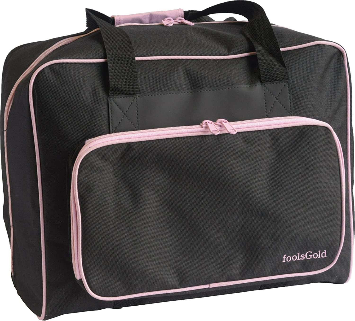 foolsGold Pro Thick Padded Sewing Machine Bag Carry Case - Black/Pink
