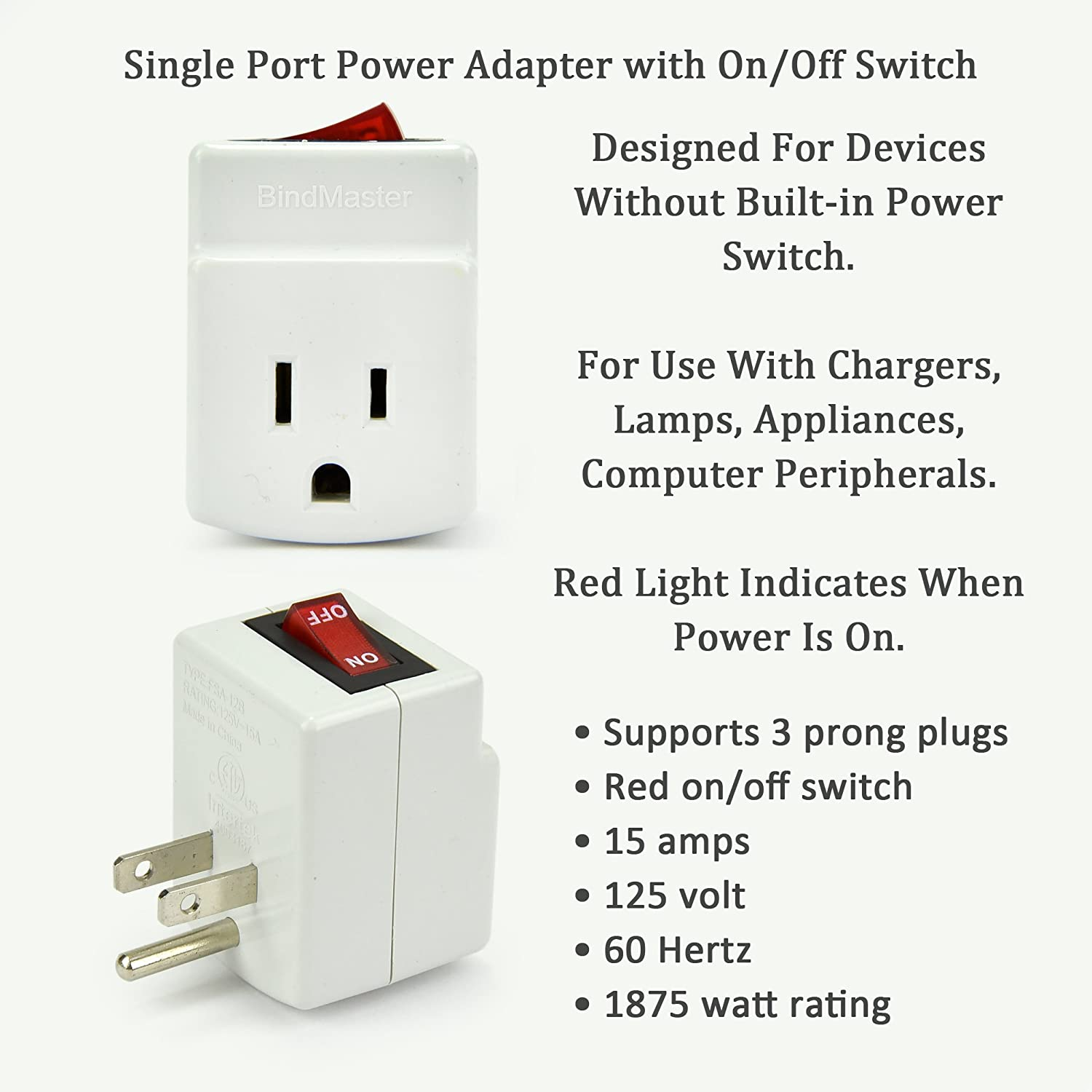 BindMaster 3 Prong Grounded Single Port Power Adapter with Red ...