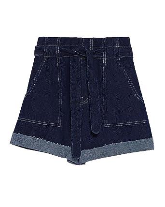 6b8b98a9e1 Zara Women Denim Bermuda Shorts with Belt 4979/028 at Amazon Women's ...