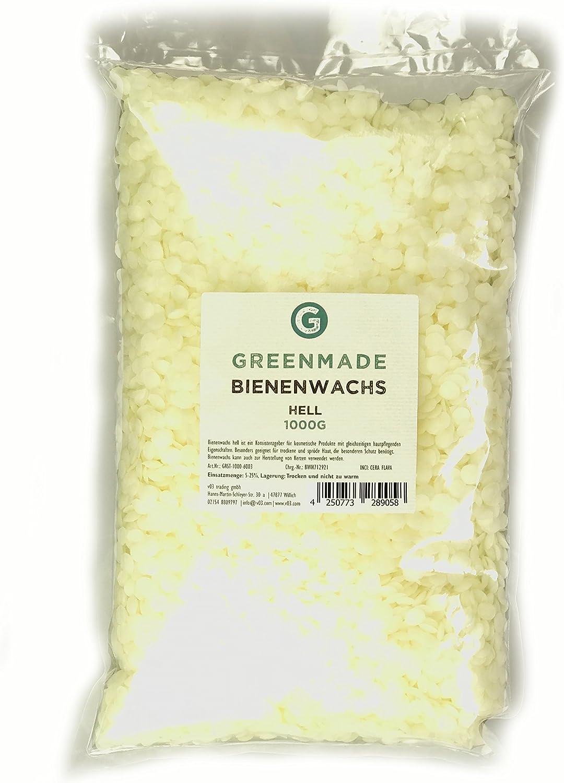 Bienenwachs Pastillen hell Handcreme und Kerzen von greenmade 1000g ideal f/ür Kosmetik Creme