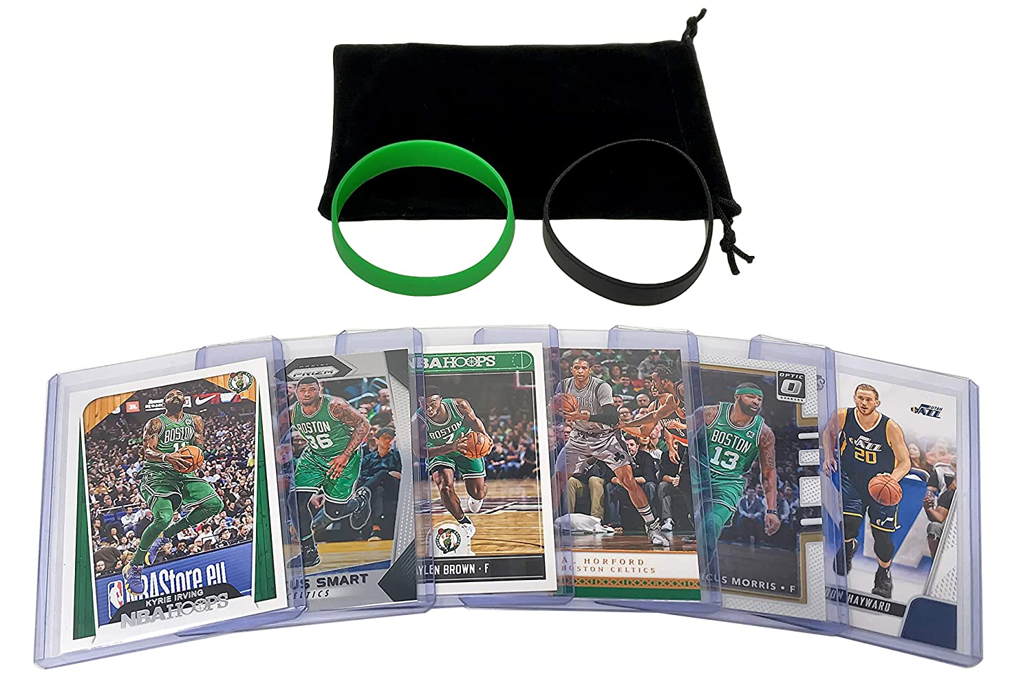 Boston Celtics Cards: Kyrie Irving, Al Horford, Gordon Hayward, Jaylen Brown, Marcus Morris, Marcus Smart ASSORTED Basketball Trading Card and Wristbands Bundle Panini Hoops Topps