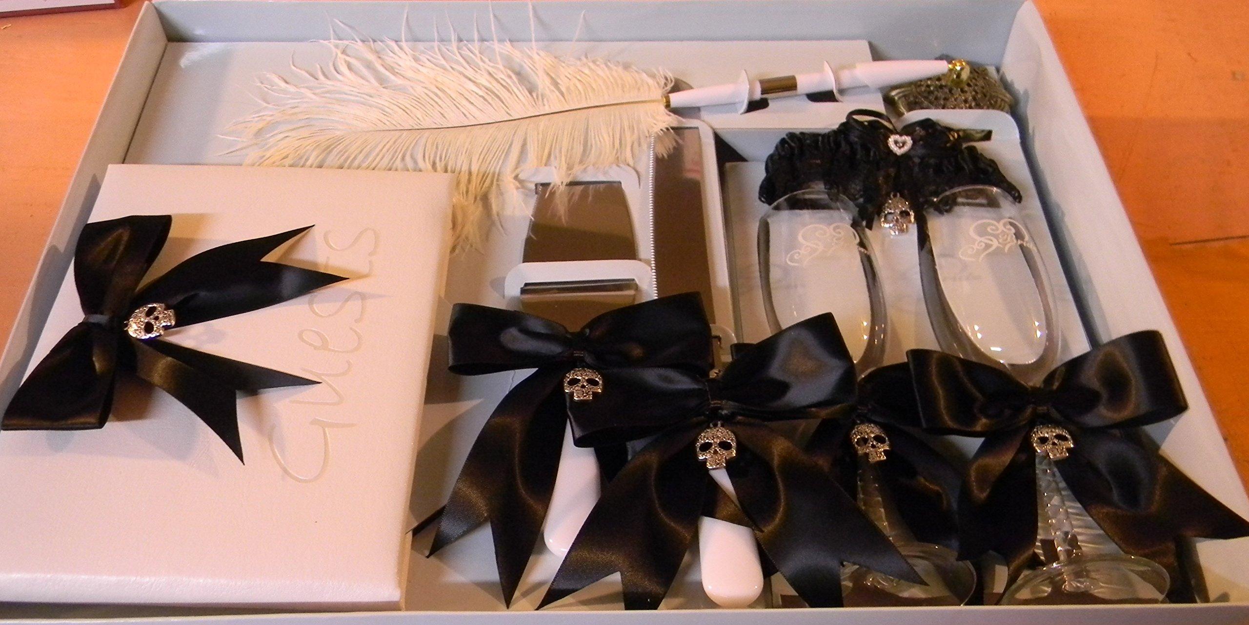 Wedding Reception Skull Biker 8 Psc Gothic Guest Book Glasses Cake knife Garter