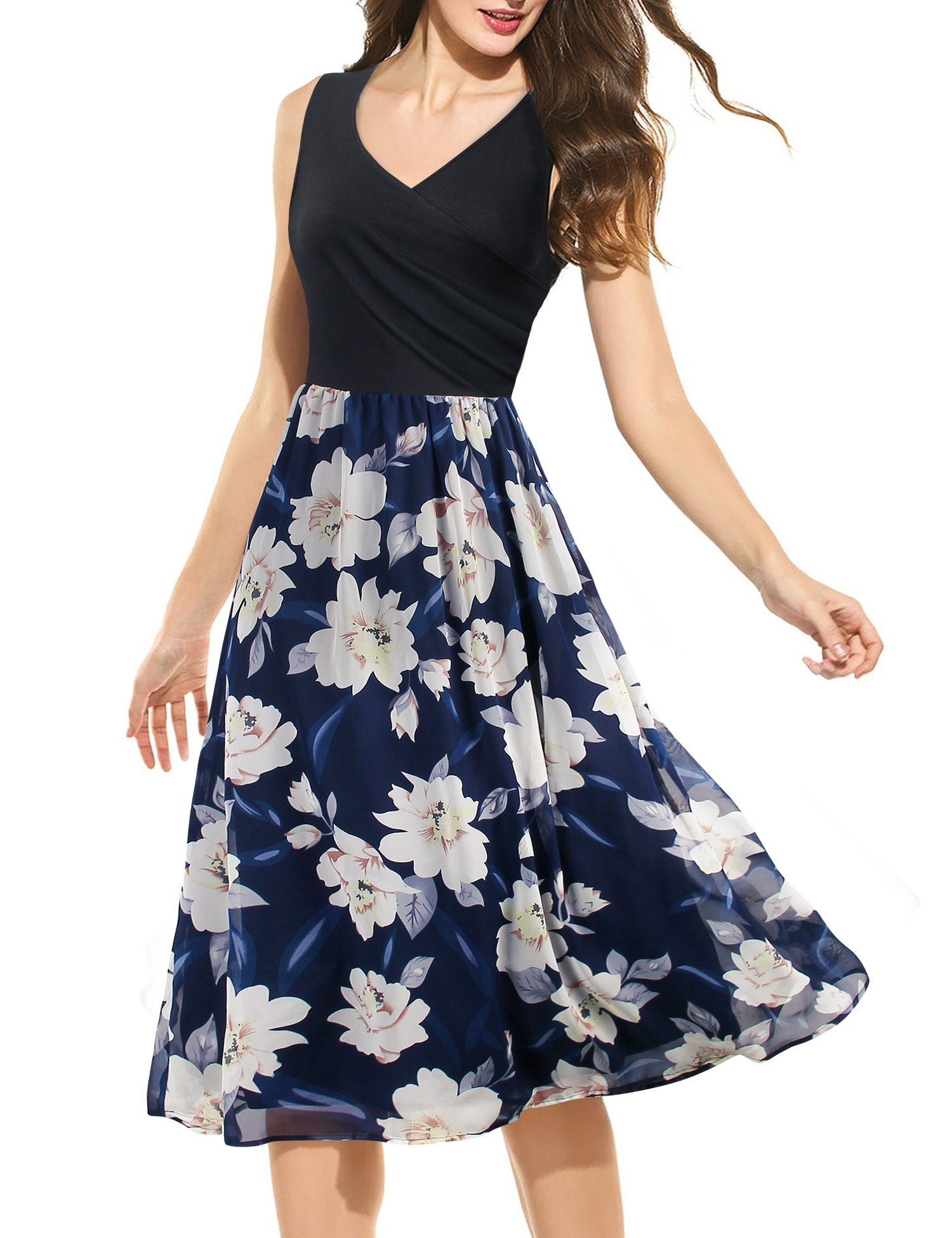 Messic Direct Black Dresses for Women Work Casual Cross V Neck Flower Printed Empired Faux Wrap Long Midi Boho Flared Travel A Line Swing Elegant Floral Dresses Multicolor Blue Medium