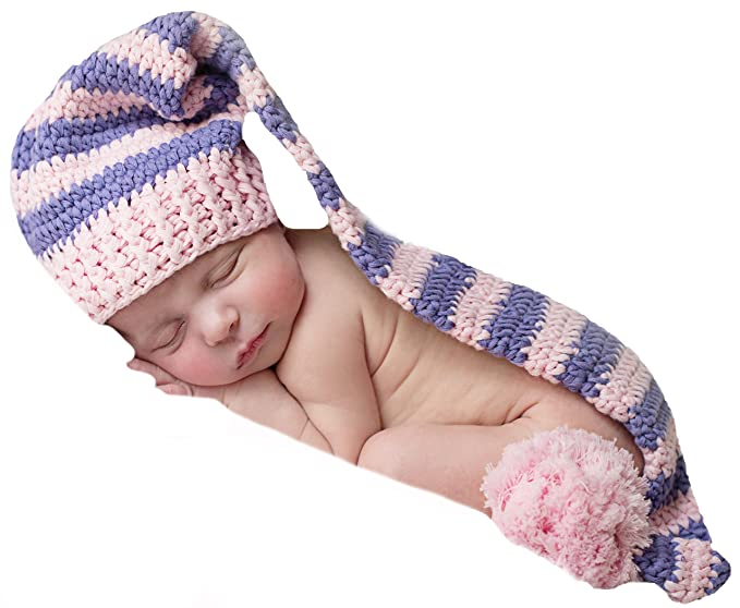Amazon.com  Melondipity s Pink and Purple Striped Stocking Cap for ... 2b353cd2e1e