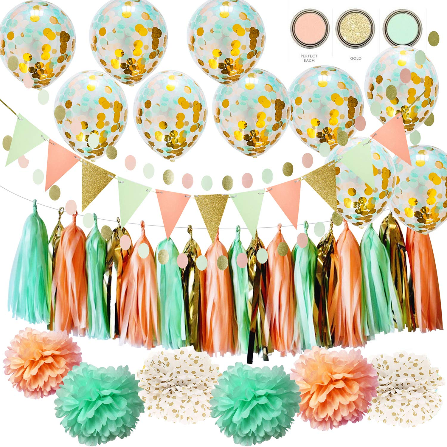 Qian's Party Wild One Birthday Decorations Mint Peach Gold Polka Dot Pom Pom Mint Peach Gold Confetti Balloons for Girl Baby Shower Decorations Peach Mint Bridal Shower Decorations Gold Glitter by Qian's Party