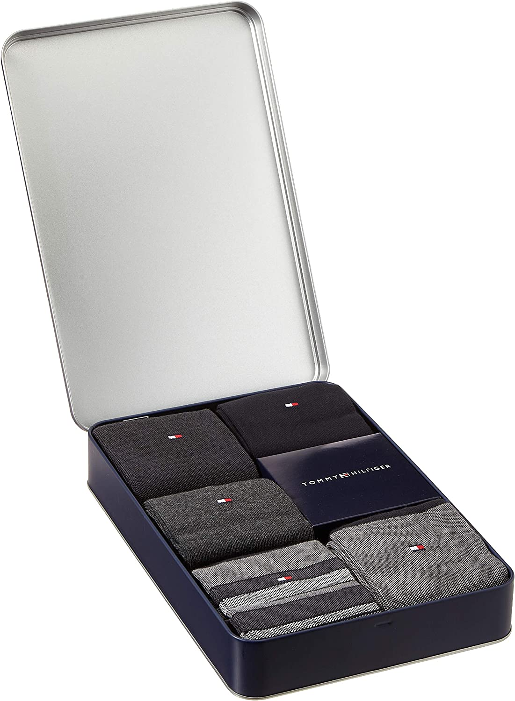 39//42 Tommy Hilfiger TH Men Birdeye Giftbox 5p Calze Taglia Produttore: 039 Dark Navy 322 Blu Pacco da 5 Uomo