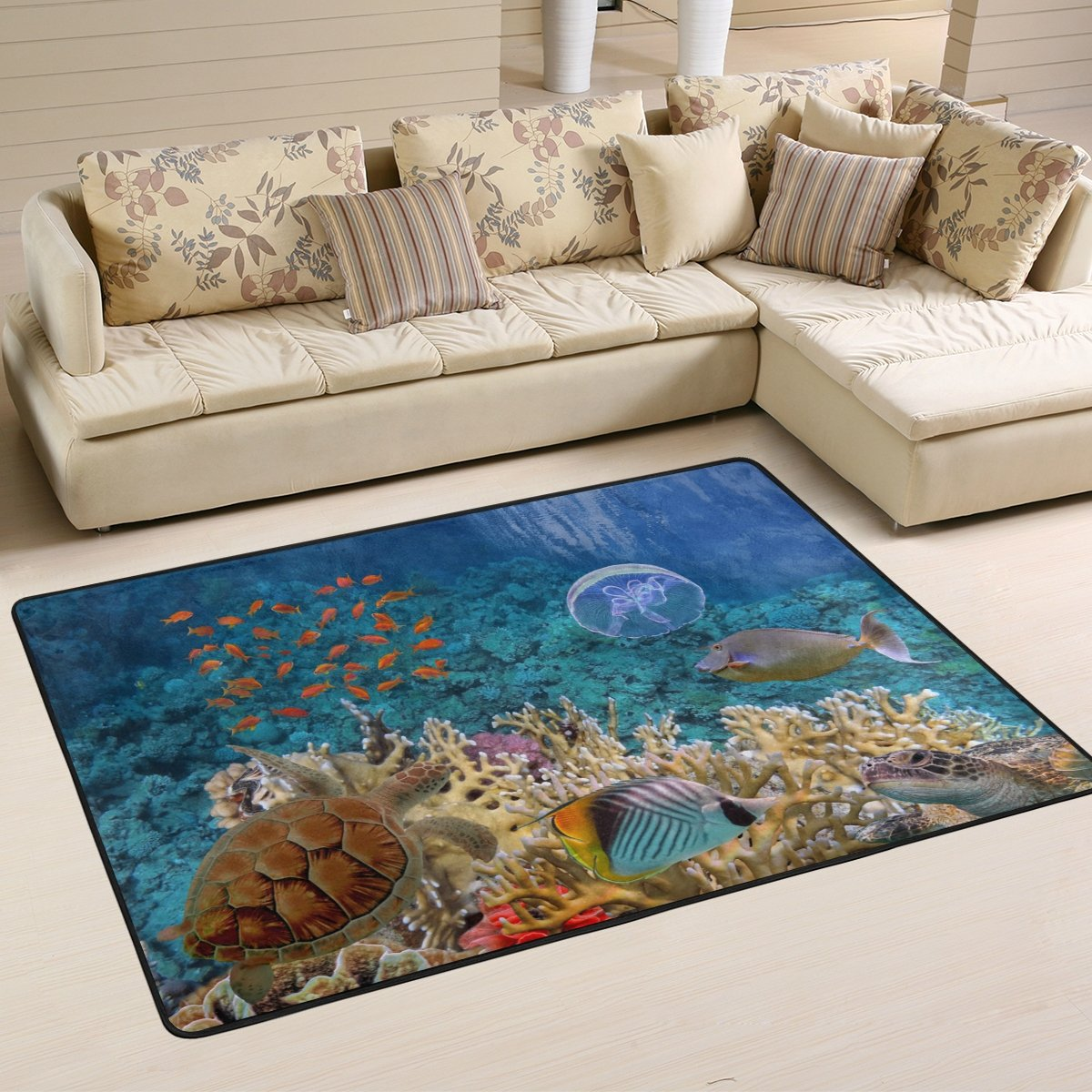 Naanle Ocean Animal Area Rug 4 x6 , Tropical Beach Sea Turle Polyester Area Rug Mat for Living Dining Dorm Room Bedroom Home Decorative