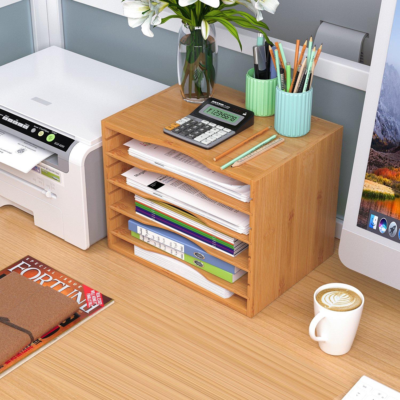 Homfa Bambus Dokumentenbox Einlegebodens ausziehbar 5 Ablagen 33x24.6x26cm Schreibtisch Organizer Dokumenten Organizer Aktenordner Sortierablage.