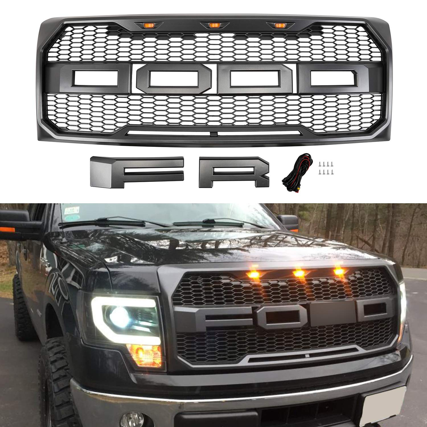 Seven Sparta Front Grill For F150 2009 2014 Raptor Style Grill For Ford With Amber Lights F R Letters Gray