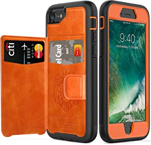 timecity iPhone SE 2020 Case/iPhone 7 Wallet Case/iPhone 8 Card Case/iPhone 6 Leather Case.Slim Yet Protective with Kickstand.Flip Leather Cover for iPhone 8/ iPhone 7/iPhone 6 4.7 inch Case-Orange