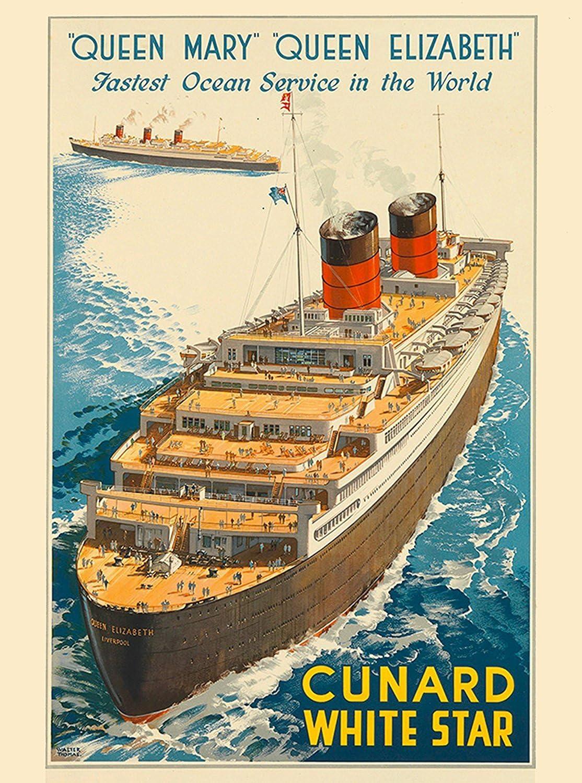 "14/"" Print Queen Mary New York Cunard Ocean Liner Marine Painting Art Print"