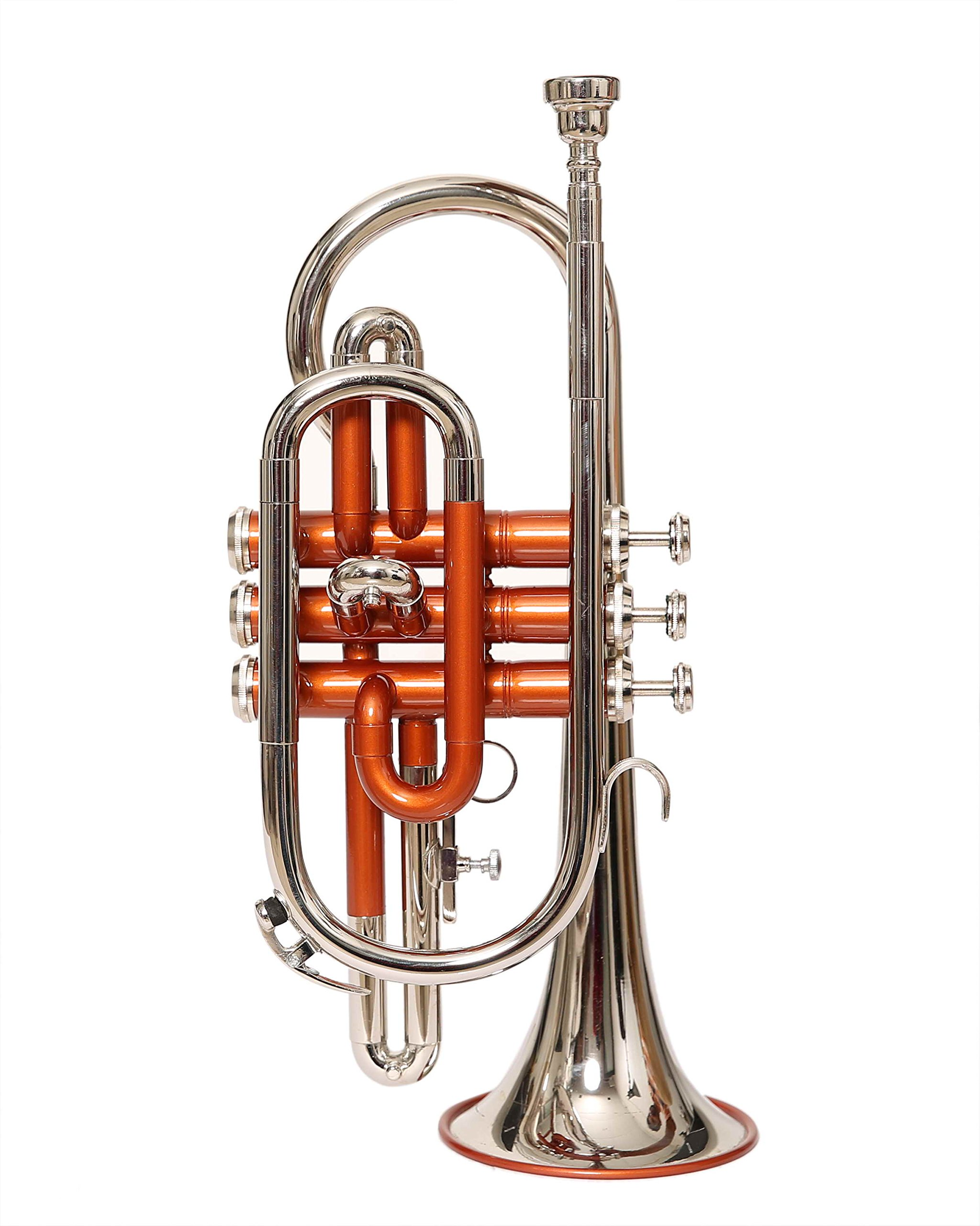 NASIR ALI BEAUTIFUL 65 CORNET Bb PITCH COPPER COLOR +BRASS SILVER WITH CASE AND MP