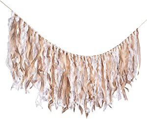 Aimto Boho Decor Rustic Ribbon Garlands Garland Already Assembled Ribbon Wedding Event & Party Supplies Shabby Chic Banner - 30pcs