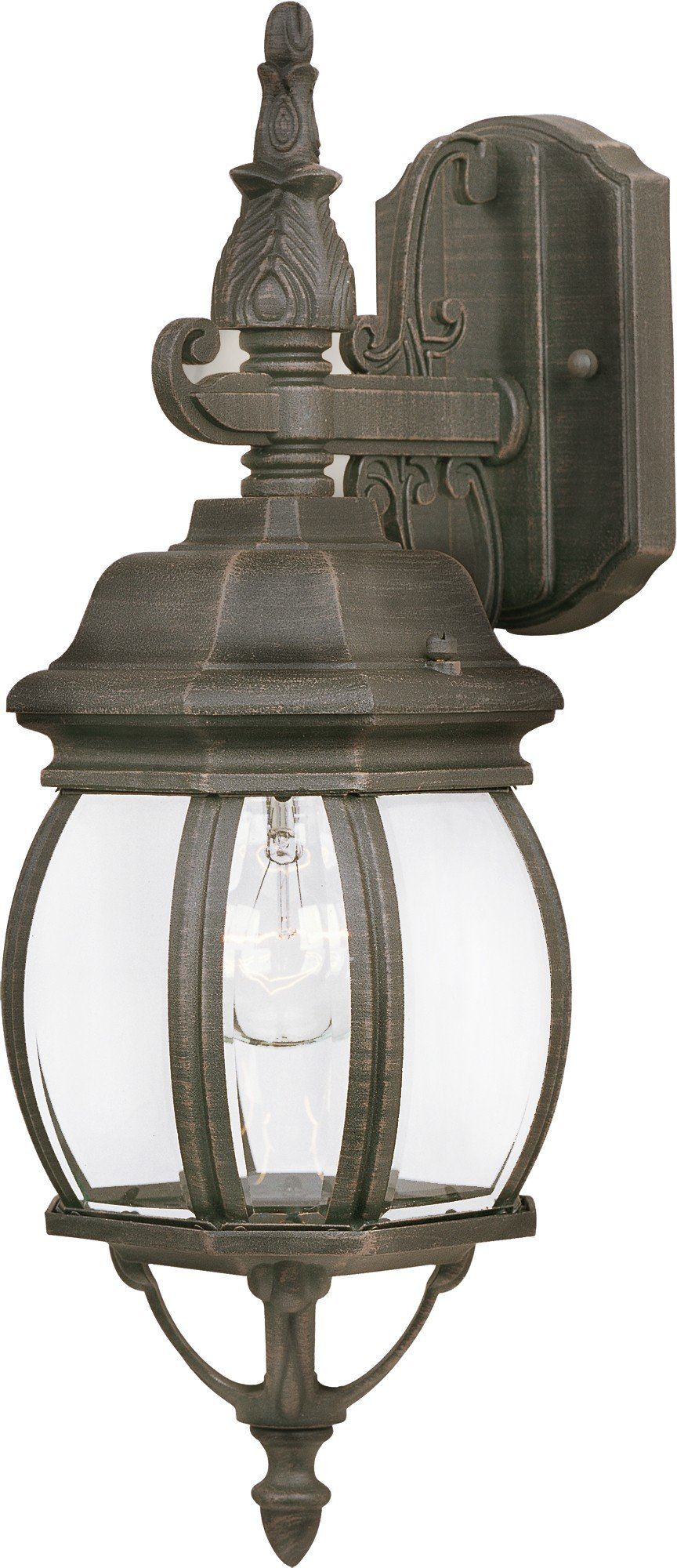 Maxim 1030RP Crown Hill 1-Light Outdoor Wall Lantern, Rust Patina Finish, Clear Glass, MB Incandescent Incandescent Bulb , 60W Max., Dry Safety Rating, Standard Dimmable, Glass Shade Material, 10080 Rated Lumens