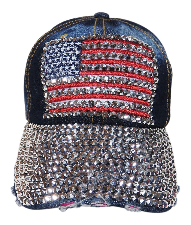 Blinged Out Rhinestone Flag and Bill Dark Denim Baseball Cap Hat Headwear d8b6fd5c7a7