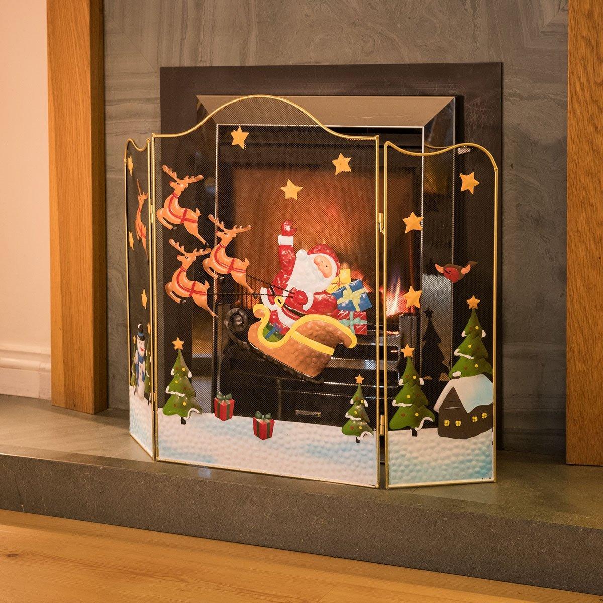 3 Panel Fireguard Fireplace Screen Santa Sleigh Christmas 61cm x 80cm Christow