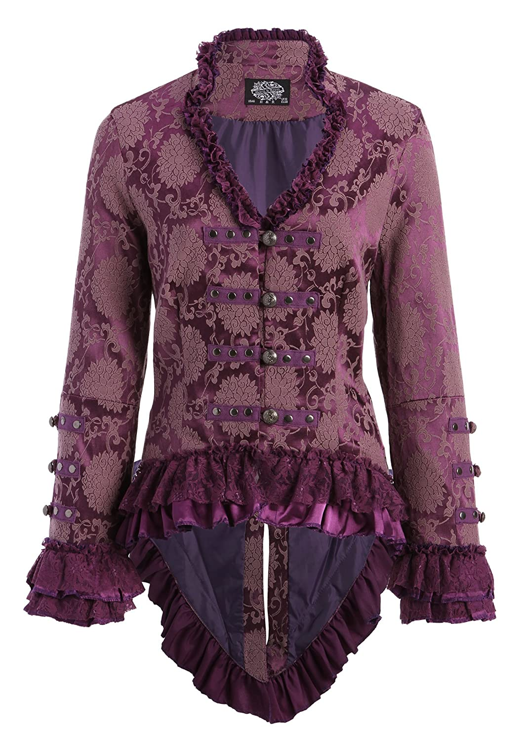 Steampunk Jacket | Steampunk Coat, Overcoat, Cape Elegant Purple Victorian Tail Jacket with Lace Embellishments $59.90 AT vintagedancer.com