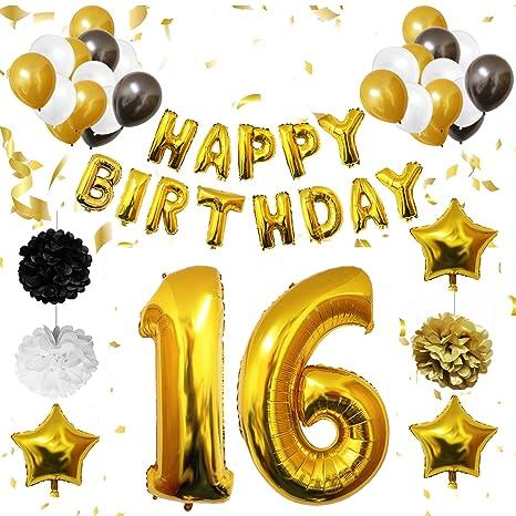 16 Cumpleaños Decoracion - Globos de Cumpleaños Guirnalda - Globos de Helio para el aniversario de boda, Fiesta Décor para Niña Niño Hombre Mujer ...