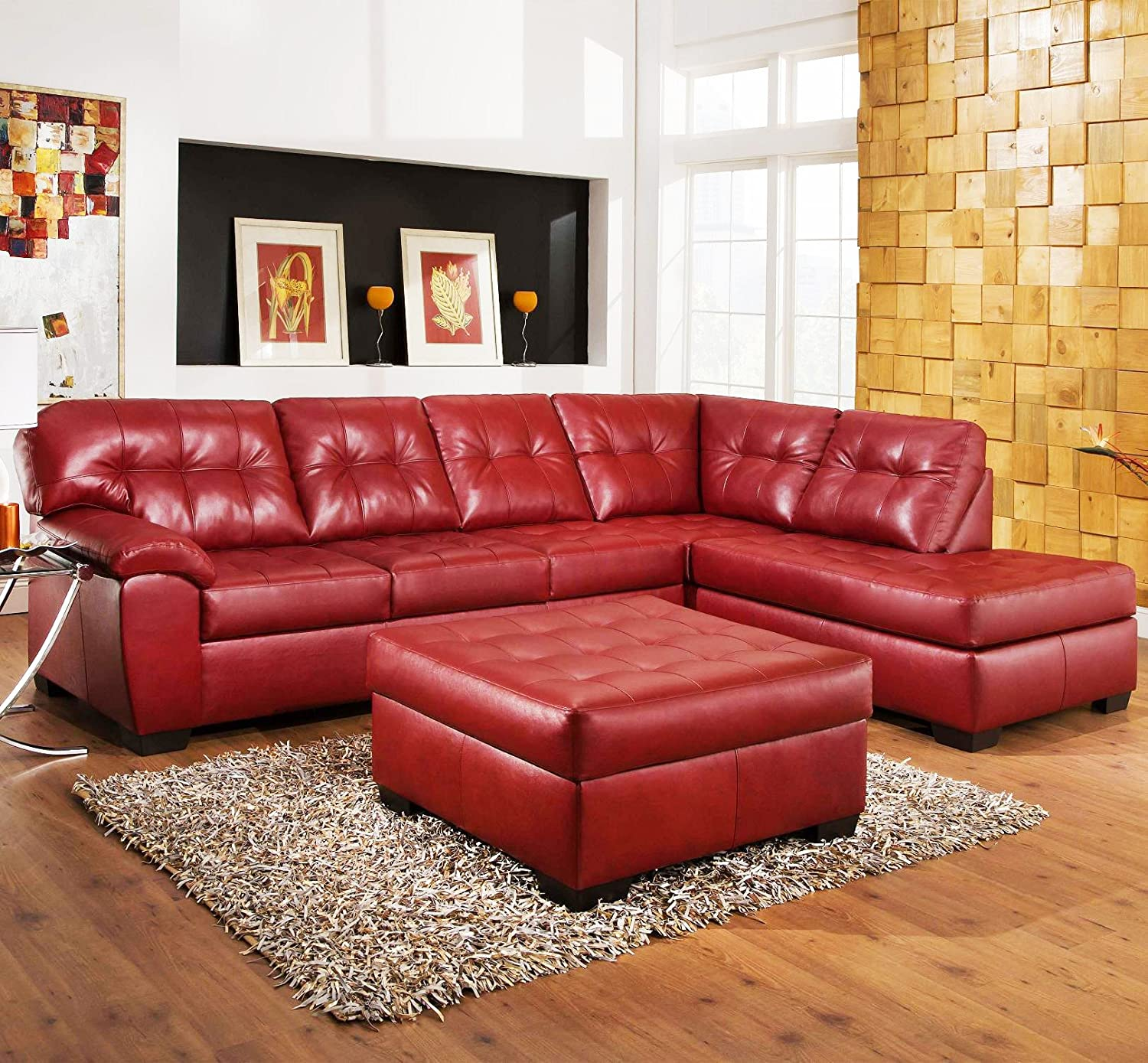 Amazon com roundhill furniture addiya 3 piece bonded leather sectional sofa with chaise and ottoman set red kitchen dining