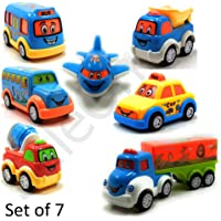 SaleOn Set of 7 Unbreakable Friction Powered and Pull Back Automobile Car Plane Truck Taxi Toys for Kids (1159)