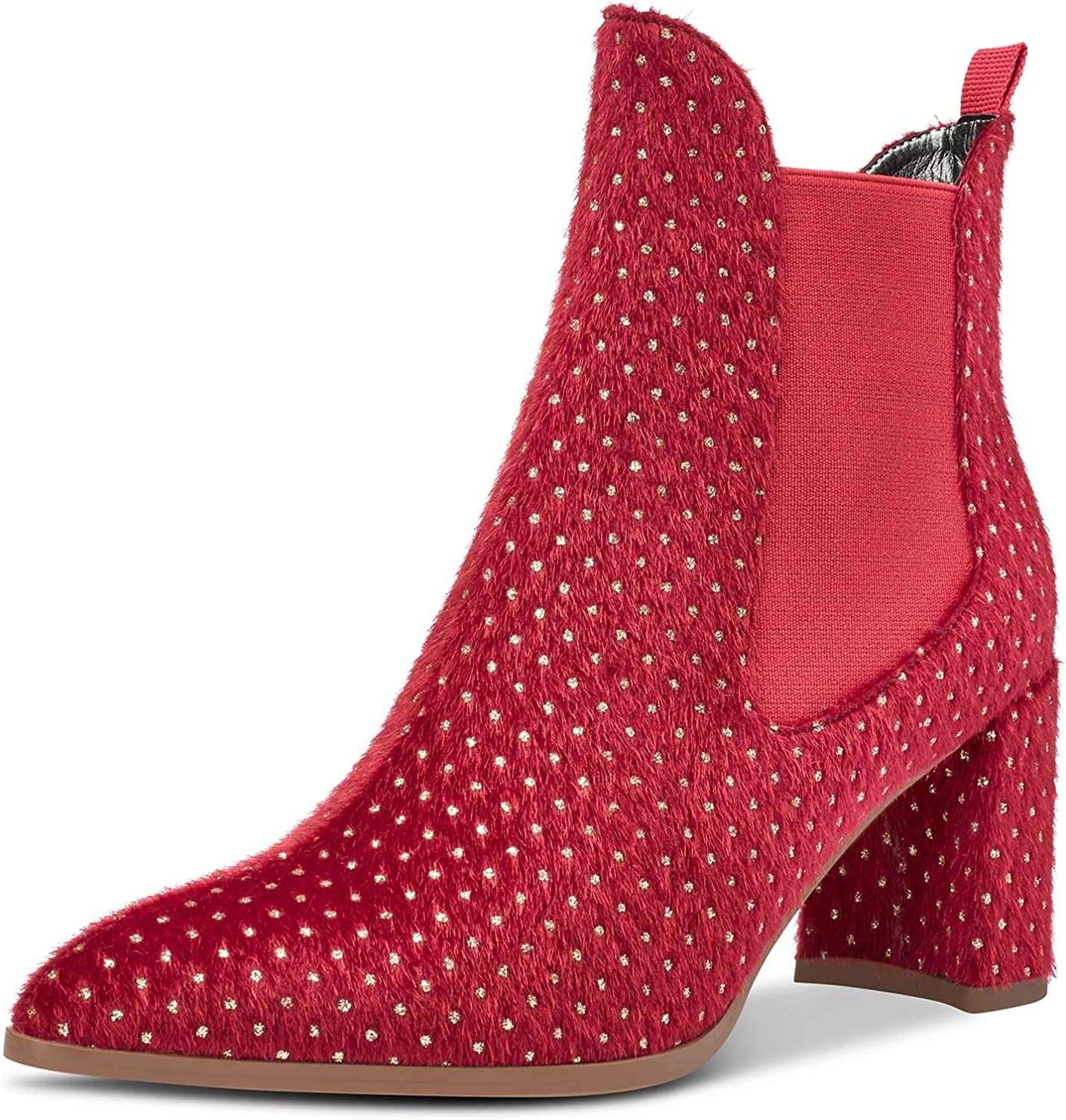 CASTAMERE Women's Chunky Block Heels Chelsea Boots Mid Heel Ankle Slip-on Pointed Toe Stretch Bootie 10CM Boot