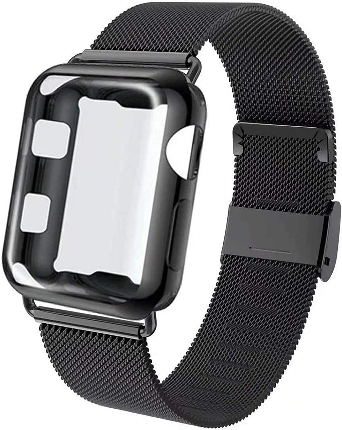 GBPOOT Compatible for Apple Watch Band 38mm 40mm 42mm 44mm with Screen Protector Case, Sports Wristband Strap Replacement Band with Protective Case for Iwatch Series 6/SE/5/4/3/2/1,38mm,Black