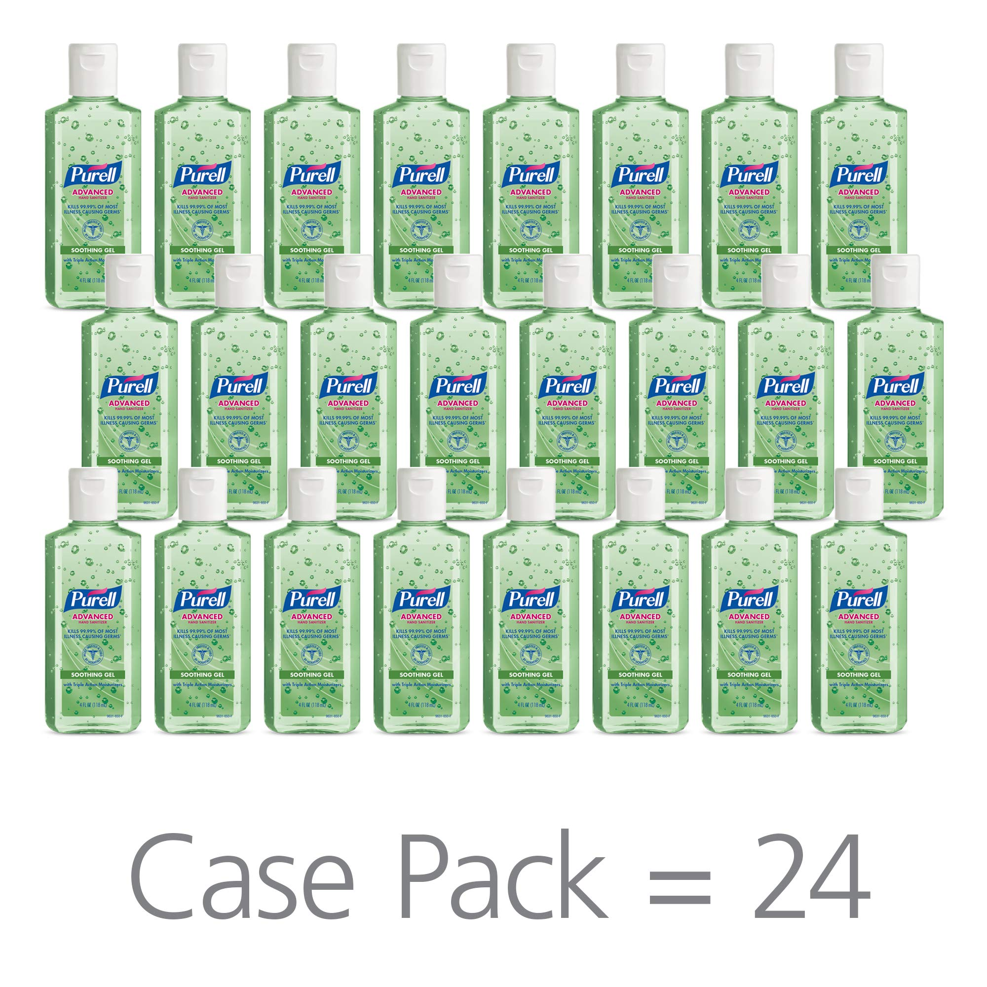 PURELL Advanced Hand Sanitizer Soothing Gel for The Workplace, Fresh Scent, with Aloe and Vitamin E - 4 fl oz flip Cap Bottle (Pack of 24) - 9631-24 by Purell