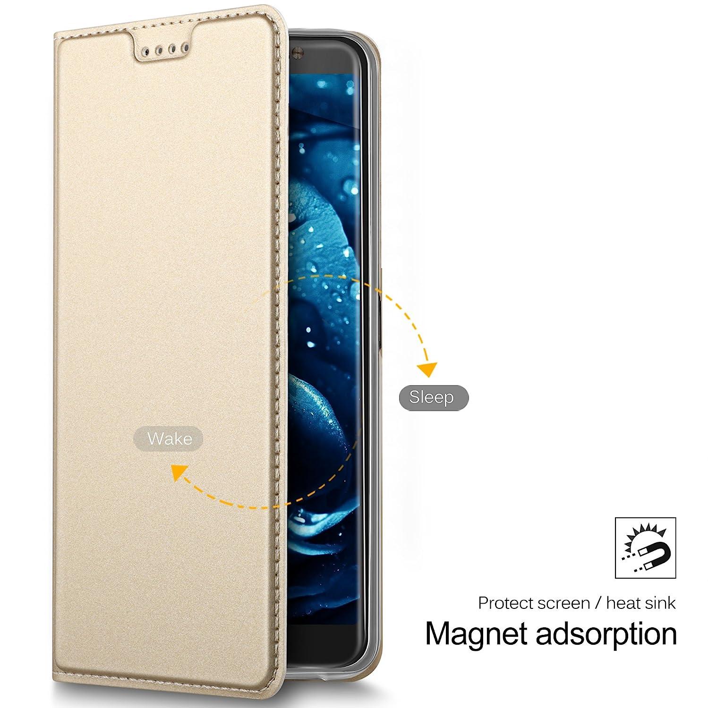 Geemai Alcatel 3/V Case Nero Premium Flip in Pelle per Alcatel 3/V Smartphone Alcatel 3/V Carte di Credito Chiusura Magnetica