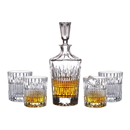 Elegant Fitz And Floyd Danbury 5 Piece Crystal Whiskey Barware Set With Decanter  And 4 Double