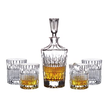 Superior Fitz And Floyd Danbury 5 Piece Crystal Whiskey Barware Set With Decanter  And 4 Double